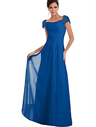 cheap -A-Line Square Neck Floor Length Chiffon Bridesmaid Dress with Lace