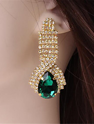 cheap -Women's Sapphire Crystal Drop Earrings Pear Cut Solitaire Drop Ladies Luxury Cubic Zirconia Imitation Diamond Earrings Jewelry Red / Green / Blue For Wedding Masquerade Engagement Party Prom