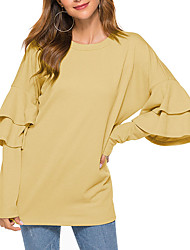 cheap -Women's Daily T-shirt - Solid Colored Yellow