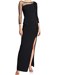 cheap -Sheath / Column Elegant Formal Evening Dress Boat Neck Long Sleeve Ankle Length Satin Tulle with Pleats Split Front 2020