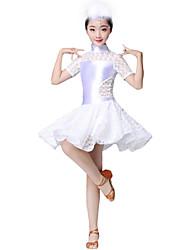 cheap -Latin Dance Dresses Girls' Performance / Theme Party Elastic Woven Satin / Lace Lace / Split Joint Short Sleeve Dress