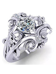 cheap -Women's Band Ring Ring Cubic Zirconia 1pc Silver Silver Plated Stylish Luxury Fashion Wedding Engagement Jewelry