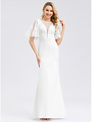 cheap -Mermaid / Trumpet Jewel Neck Floor Length Polyester / Spandex / Lace Short Sleeve Simple / Casual Illusion Detail / Elegant Wedding Dresses with Lace Insert 2020