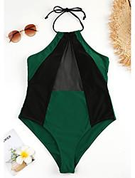 abordables -Femme Basique Vert Licou Slip Brésilien Taille haute Bikinis Maillots de Bain - Couleur Pleine Lacet Imprimé S M L Vert