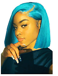 cheap -Unprocessed Virgin Hair Lace Front Wig Bob Middle Part Deep Parting style Brazilian Hair Peruvian Hair Straight Blue Wig 150% Density Best Quality Hot Sale 100% Virgin Comfy Coloring Women's Medium
