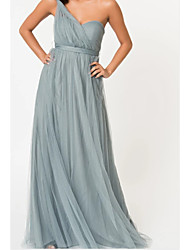 cheap -A-Line One Shoulder Floor Length Tulle Bridesmaid Dress with Sash / Ribbon / Ruching