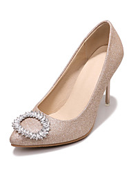 cheap -Women's Heels Stiletto Heel Pointed Toe Rhinestone PU Classic / British Spring &  Fall Black / Purple / Gold / Wedding / Party & Evening
