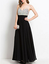 cheap -A-Line Spaghetti Strap Floor Length Chiffon Dress with Sequin / Crystals by LAN TING Express