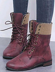 cheap -Women's Boots Comfort Shoes Flat Heel Round Toe PU Mid-Calf Boots Winter Brown / Red / Blue