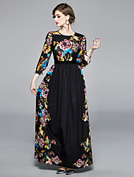 cheap -Women's Maxi Black Dress Elegant Vintage Business Formal Swing Floral Print M L