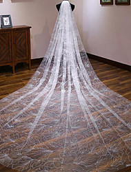 cheap -One-tier Classic Style / Lace Wedding Veil Cathedral Veils with Solid / Pattern POLY / Lace