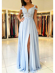 cheap -A-Line Empire Blue Prom Formal Evening Dress V Neck Short Sleeve Floor Length Chiffon Lace with Appliques Split Front 2020