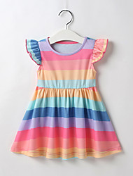 cheap -Baby Girls' Active / Basic Striped / Print / Color Block Ruffle Short Sleeve Above Knee Dress Blushing Pink