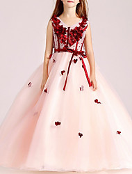 cheap -Ball Gown Floor Length Pageant Flower Girl Dresses - Polyester Sleeveless V Neck with Sash / Ribbon / Beading / Appliques