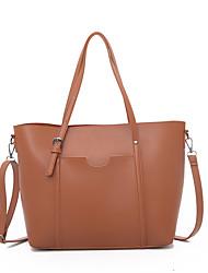 cheap -Women's PU Top Handle Bag Solid Color Black / Brown / Khaki