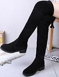cheap -Women's Boots Flat Heel Round Toe Suede Mid-Calf Boots Winter Black