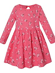 cheap -Kids Girls' Floral Dress Fuchsia