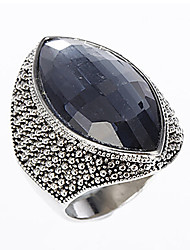 cheap -Women's Band Ring Ring Engagement Ring 1pc Dark Blue Stainless Steel Glass Geometric Oval Vintage Fashion Party Daily Jewelry 3D Precious Cute Cool Lovely