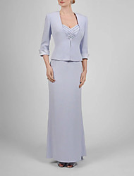 cheap -Two Piece Spaghetti Strap Floor Length Satin 3/4 Length Sleeve Elegant & Luxurious Mother of the Bride Dress with Ruching 2020