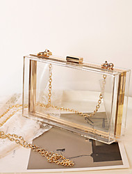 cheap -Women's Chain Acrylic Evening Bag Solid Color Black / White / Dusty Rose