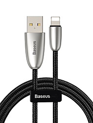 cheap -Baseus Torch Series Data Cable USB for iP 2.4A 1m Black(With lamp)
