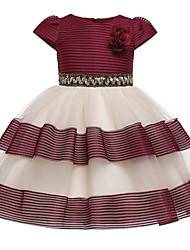 cheap -Kids Girls' Striped Dress Wine