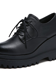 cheap -Women's Oxfords Wedge Heel Round Toe Cowhide Casual / Minimalism Walking Shoes Spring & Summer / Fall & Winter Black