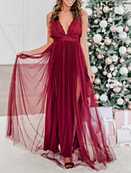 cheap -A-Line Spaghetti Strap Sweep / Brush Train Lace / Tulle Dress with Split Front / Pleats by LAN TING Express