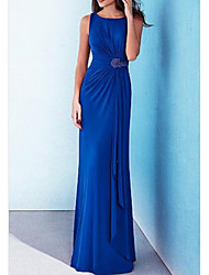 cheap -Sheath / Column Jewel Neck Floor Length Stretch Satin Minimalist / Blue Formal Evening / Wedding Guest Dress with Appliques / Draping 2020