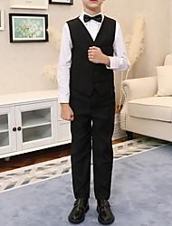 cheap -Black Polyester Ring Bearer Suit - 1 Piece Includes  Vest / Shirt / Pants