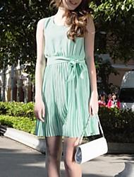 cheap -A-Line Jewel Neck Above Knee Chiffon Bridesmaid Dress with Sash / Ribbon / Pleats by LAN TING Express