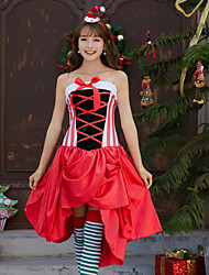 cheap -Mrs.Claus Dress Women's Adults' Costume Party Christmas Christmas Velvet Dress / Headwear