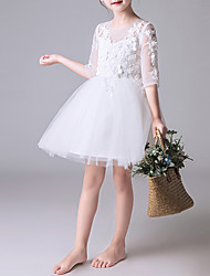 cheap -Princess Short / Mini First Communion Flower Girl Dresses - Polyester Half Sleeve Jewel Neck with Appliques