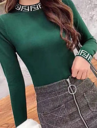 cheap -Women's Letter Long Sleeve Pullover Sweater Jumper, High Neck Black / Light Brown / White One-Size