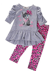 cheap -Kids Girls' Basic Print Long Sleeve Clothing Set Gray