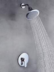cheap -Shower Faucet Set - Rainfall Contemporary Chrome Wall Mounted Ceramic Valve Bath Shower Mixer Taps / Brass / Single Handle Two Holes