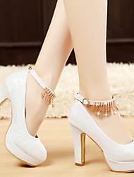 cheap -Women's Wedding Shoes Chunky Heel Round Toe PU Winter White / Gold