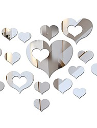 cheap -Acrylic Heart-Shaped Mirror Wall Stickers Plastic Removable Heart Art Decor Wall Poster Living Room Home Decoration,Multi-Size
