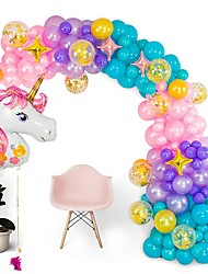 cheap -Shimmer and Confetti Premium  Pearlized Unicorn Balloon Arch and Garland Kit - Giant Unicorn, Pump, Gold Confetti, Strip. Pink Purple Aqua. Unicorn Party Supplies for Birthdays & Baby Showers