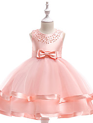 cheap -A-Line Knee Length Wedding / Birthday / Pageant Flower Girl Dresses - Cotton Blend Sleeveless Jewel Neck with Sash / Ribbon / Pearls / Trim