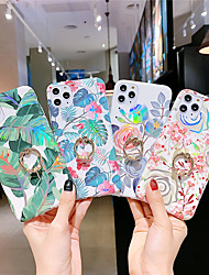 cheap -Case for Apple scene map iPhone 11 11 Pro X XR XS Max plating laser Flowers pattern TPU Texture IMD Craft ring support All-inclusive phone case KLD