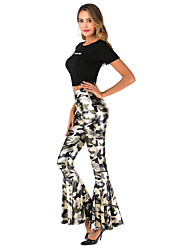 cheap -Women's Boho Slim Bootcut Pants - Leopard / Tie Dye / Camouflage Ruffle / Print High Waist Black Gold Blue S M L