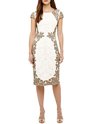 cheap -Sheath / Column Jewel Neck Knee Length Lace Dress with Appliques by LAN TING Express