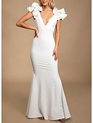 cheap -Sheath / Column Plunging Neck Floor Length Polyester Elegant Formal Evening Dress with Cascading Ruffles 2020
