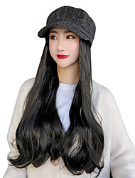 cheap -One Pack Solution Synthetic Extentions Wavy Loose Wave Free Part Wig Long Brown / White Creamy-white Grey White Jet Black Synthetic Hair Kanekalon 26inch Women's Gift Cosplay Soft Dark Gray Dark Brown