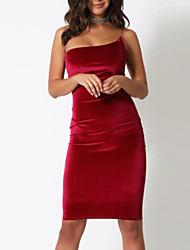cheap -Sheath / Column Spaghetti Strap Short / Mini Velvet Open Back Cocktail Party / Holiday Dress with 2020