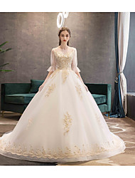 cheap -Ball Gown Jewel Neck Chapel Train Lace / Tulle Half Sleeve Made-To-Measure Wedding Dresses with Beading / Appliques 2020