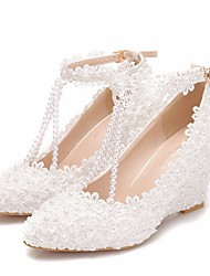 cheap -Women's Wedding Shoes Glitter Crystal Sequined Jeweled Wedge Heel Pointed Toe Wedding PU White