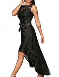 cheap -A-Line Jewel Neck Asymmetrical Stretch Satin / Sequined Dress with Appliques / Sash / Ribbon / Pleats by LAN TING Express