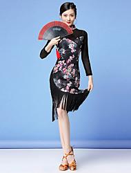 cheap -Women's Flapper Girl Latin Dance Flapper Dress Party Costume Tassel Flapper Costume Tulle Polyester Black Black and Blue Black / Red Dress